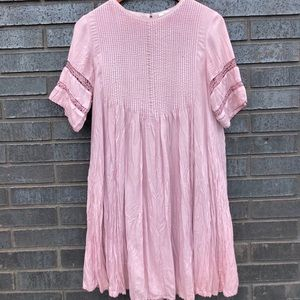 Dusty pink ruffle and lace spring dress